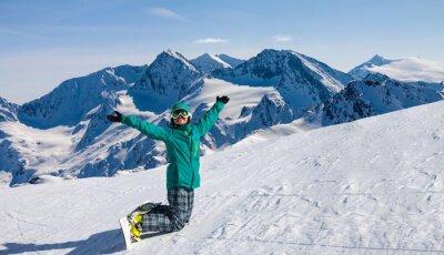 Naklejka snowboardzista, Sölden, Austria, ekstremalne sporty zimowe