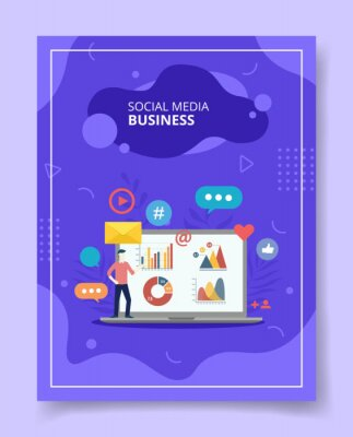 Naklejka Social media business men showing chart diagram on laptop for template of banners, flyer, books cover, magazines with liquid shape style