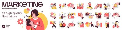 Naklejka Social Media Marketing illustrations. Mega set. Collection of scenes with men and women taking part in business activities. Trendy vector style