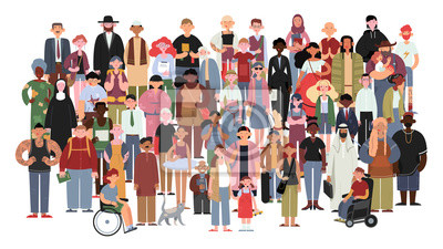 Naklejka Socially diverse multicultural and multiracial people on an isolated white background. Happy old and young women and men with children, as well as people with disabilities standing together. Vector