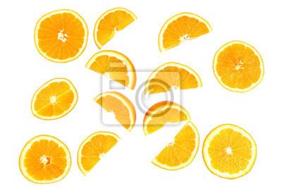 Naklejka Soczyste plastry pomarańczy na białym