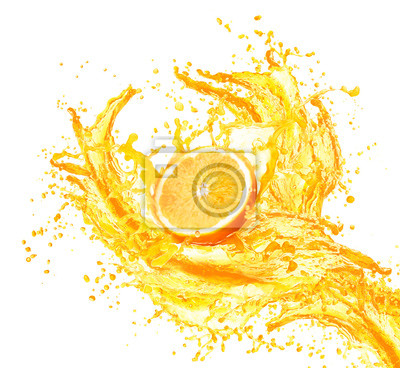 Naklejka Sok pomarańczowy rozpryskiwania z jego owoców samodzielnie na białym tle