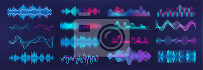 Naklejka Sound waves equalizer. Frequency audio waveform, music wave, voice graph signal in futuristic style HUD. Microphone voice control set and sound recognition. Audio waves vector set