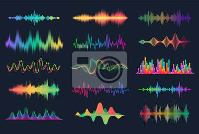 Naklejka Sound waves. Frequency audio waveform, music wave HUD interface elements, voice graph signal. Vector audio electronic color wave set