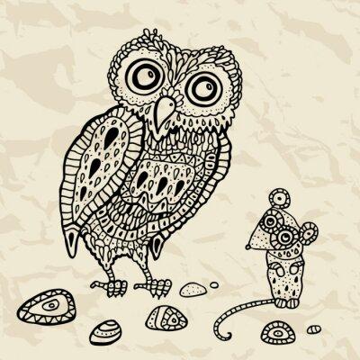 Naklejka Sowa dekoracyjne i mysz. Cartoon ilustracji.