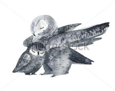 Naklejka Sowa i technika baby-akwarela. Zwierzęta leśne. Ręcznie malowane realistyczne ilustracja na białym tle. Karta dnia matki.