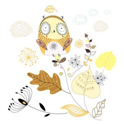 Naklejka Sowa na liściach