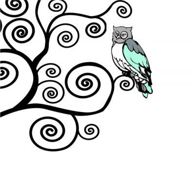 Naklejka Sowa siedzi na gałęzi swirly