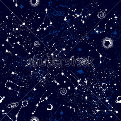 Naklejka Space Galaxy constellation seamless pattern print could be used for textile, zodiac star yoga mat, phone case