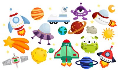 Naklejka space  vector set - no background