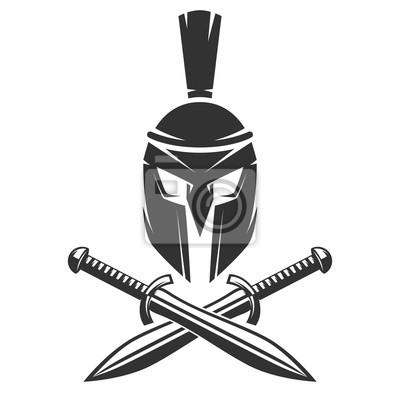 Spartan kask z skrzyżowanymi mieczami