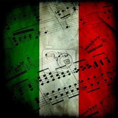 Naklejka Spartito musicale su bandiera italiana