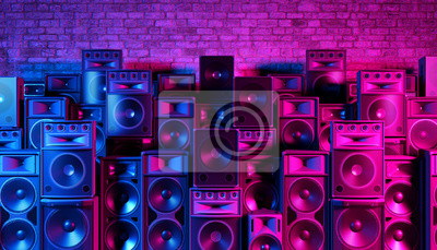 Naklejka Speakers on the background of an old brick wall in the enon light, 3d illustration