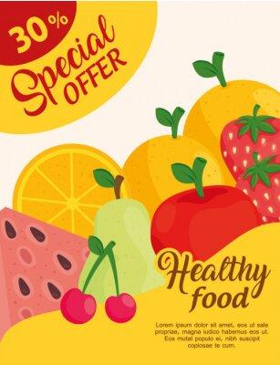 Naklejka special offer sale advertising poster, of fresh fruits