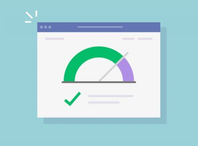 Naklejka Speed of website vector internet page loading or fast seo optimization web site performance test check icon flat, concept of load time speedometer software tool for downloading score isolated