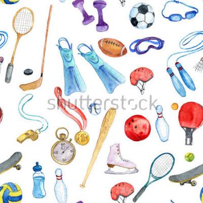 Naklejka sport akwarela doodle wzór z, ręcznie użyj tła