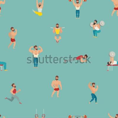 Naklejka Sport i siłownia wektor wzór. Ręcznie rysować tło z mięśni, brodaty mans ilustracji. Kreskówka bezszwowe tło. Tapeta z modelami fitness, pozowanie, kulturystyka