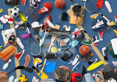 Naklejka Sports equipment and clothing are scattered in the gym