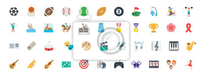 Naklejka Sports, music instruments, games vector illustration symbols set. All type of balls, activities icons, emoticons set, collection.