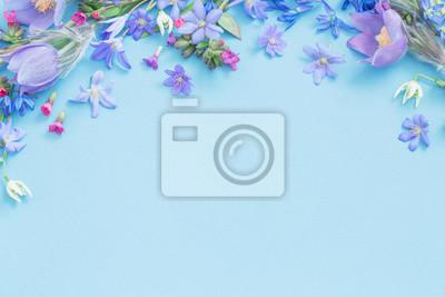 Naklejka spring flowers on blue background