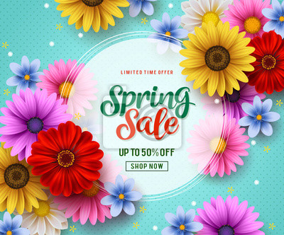 Naklejka Spring sale vector banner template with colorful flowers elements like chrysanthemum and daisy in the background and spring season discount promotional text in white frame.