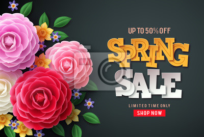 Naklejka Spring sale vector flowers background. Spring sale text, colorful camellia flowers and crocus flowers in back background for spring seasonal promotion.