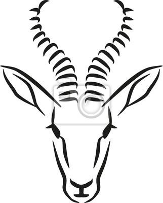 Naklejka Springbok głowy kaligrafia stylu