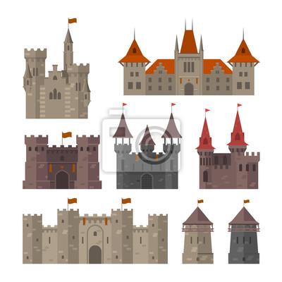 Naklejka Średniowieczne zamki, twierdze i warownie z murem obronnym