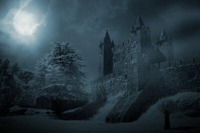Naklejka Średniowieczny zamek w nocy