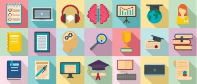 Naklejka Staff education icons set. Flat set of staff education vector icons for web design