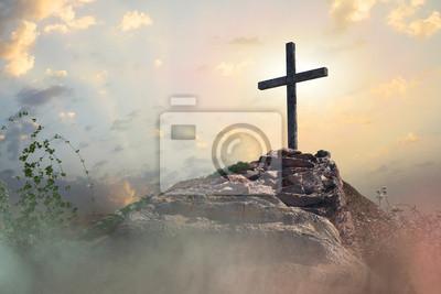Naklejka stairs to the cross of Jesus Christ 3d render