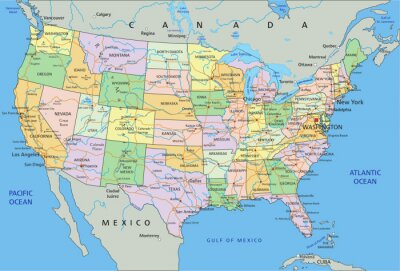 Naklejka Stany Zjednoczone Ameryki - Bardzo szczegółowe edycji Polityczna mapa etykietowania.