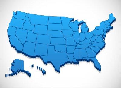Naklejka Stany Zjednoczone Ameryki Mapa