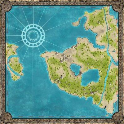 Naklejka Stara mapa z wyspy