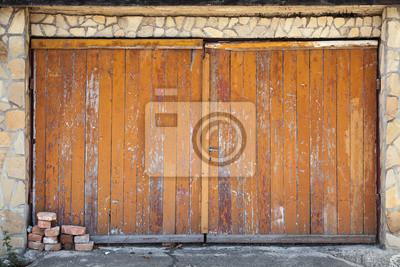 Topnotch Naklejka Stare drewniane bramy garażowe, tekstury tła zdjęcia na BD95