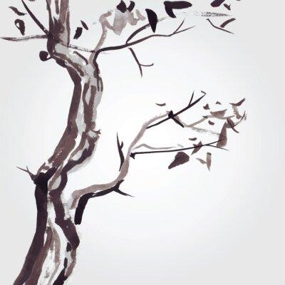 Naklejka Stare drzewa w stylu chińskim.