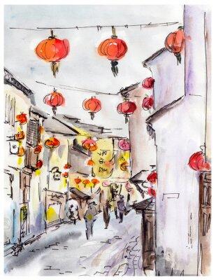 Stare miasto ulicy w Chinach, tradycyjny chiński czerwone latarnie