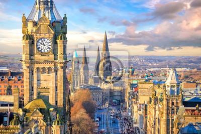 Naklejka Stare miasto w Edynburgu i zamek w Edynburgu