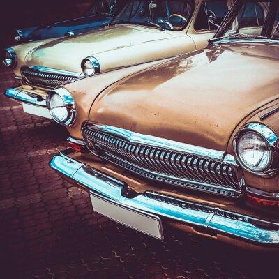 Naklejka Stare retro vintage, z boku lub z przodu samochodu. Vintage przetwarzanie efektów
