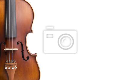 Naklejka Stare skrzypce na białym tle.