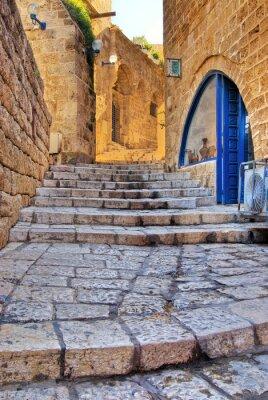Naklejka Stare ulicy w Jaffie, obraz procesu hdr