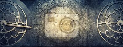 Naklejka Starożytne instrumenty astronomiczne na tle rocznika papieru. Abstrakcyjne stare tło koncepcyjne dotyczące historii, mistycyzmu, astrologii, nauki itp.