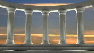 Naklejka Starożytne marmurowe filary w eliptycznym układzie z pomarańczowym niebie