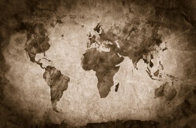 Naklejka Starożytny, Stary mapa świata. Szkic, grunge rocznika tle