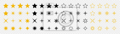 Naklejka Stars collection. Star vector icons. Golden and Black set of Stars, isolated on transparent background. Star icon. Stars in modern simple flat style. Vector