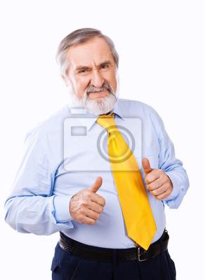 Naklejka Stary człowiek daje kciuki do góry, na białym tle