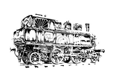 Naklejka stary parowóz silnik rocznika retro