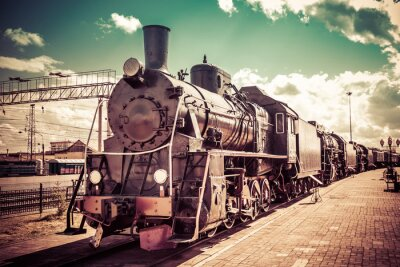 Naklejka Stary parowóz, vintage pociąg.