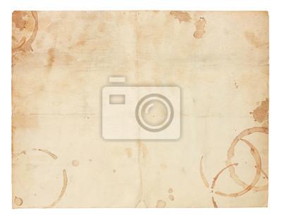 Naklejka Stary pusty papieru Plamy z kawy pierścienia