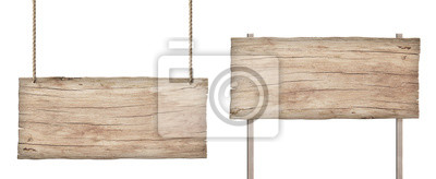 Naklejka stary wyblakły znak światła drewna na białym tle